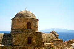 W Monemvasia historyczny kościół, Grecja Zdjęcie Royalty Free