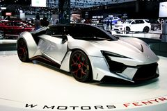 W Motors displaying the innovative Fenyr at Dubai Motor Show royalty free stock photo
