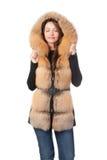 W naszywanej futerko kurtce piękna kobieta Fotografia Stock