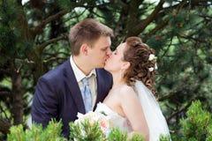 W naturze państwa młodzi szczęśliwy całowanie zdjęcie royalty free