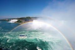 W Niagara dwoista tęcza spadać Kanada Zdjęcia Royalty Free