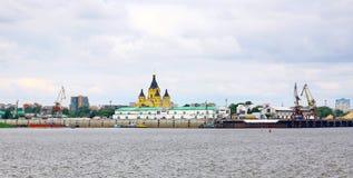 W Nizhny portowy Strelka Novgorod Zdjęcie Stock