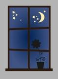 w nocy przez okno Obrazy Royalty Free
