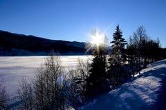 W Norwegia zima krajobraz Obrazy Royalty Free