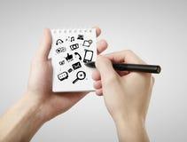 W notatce ogólnospołeczna medialna ikona Zdjęcie Stock