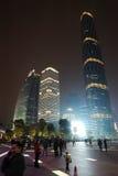 W Nowym Guangzhou Miasteczku noc scena Zhujiang Zdjęcie Stock
