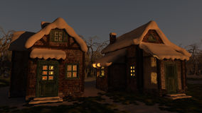 Winter House Sunset Stock Image