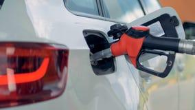 W obchodzącym się benzynowym nozzle wkładającym w samochodu zbiornika zdjęcie wideo