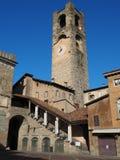 W?och bergamo starego miasta Krajobraz przy zegarowy wierza dzwonił Il Campanone Ja lokalizuje w głównym placu górny miasteczko obrazy stock
