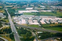 Włoch bergamo Widok Z Lotu Ptaka autostrady wymiana Na Sp591bis Zdjęcia Royalty Free