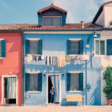 Włochy Burano niebieski dom Zdjęcie Royalty Free