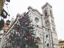 Włochy Florencja katedra z choinka deszczowym dniem Zdjęcia Stock