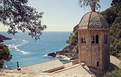 Włochy, San fruttuoso zatoka z starym opactwem X wiek Zdjęcie Royalty Free