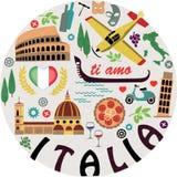 Włochy Symbole miasta kreskówki serc biegunowy setu wektor Zdjęcie Royalty Free