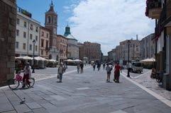 10 Włochy Tre Martiri Czerwa 2016 kwadrat w Rimini w Emilia Romagna regionie, Italy Obrazy Royalty Free