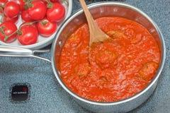włoscy klopsiki sauce pomidoru Obrazy Stock