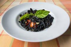 Włoski czarny spaghetti Zdjęcie Stock
