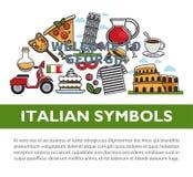 Włoski krajowych symboli/lów promocyjny plakat z próbka tekstem Zdjęcie Stock