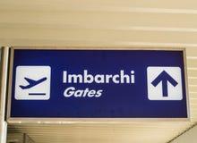 Włoski lotnisko znak bramy Zdjęcia Stock
