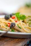 Włoski makaron i pieczarkowy kumberland Fotografia Stock