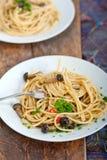 Włoski makaron i pieczarkowy kumberland Fotografia Royalty Free