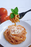 Włoski spaghetti z serem obraz stock