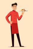 Włoski szef kuchni z makaronem Zdjęcia Royalty Free