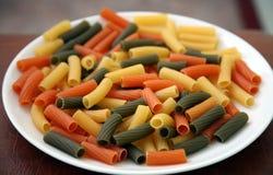 Włoski tri coloured tortiglioni makaron Zdjęcie Stock