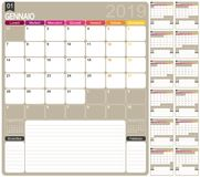Włoszczyzna kalendarz 2019 Zdjęcia Stock