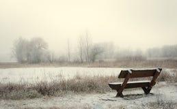 W parku osamotniona drewniana ławka Obrazy Stock