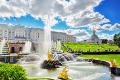 W Pertergof uroczysta kaskada, Petersburg Obraz Royalty Free