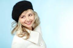 W połowie dorosłej kobiety zimy portret, atrakcyjny caucasian środek 40 obraz royalty free