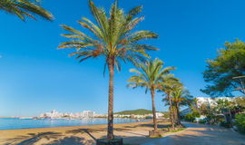 W połowie ranku słońce na Ibiza nabrzeżu Ciepły słoneczny dzień wzdłuż plaży w St Antoni De Portmany Balearic wyspach, Hiszpania Zdjęcia Stock
