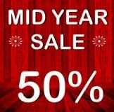 W połowie rok sprzedaż 50% Fotografia Stock