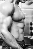W połowie sekcja bez koszuli mięśniowy mężczyzna ćwiczy z dumbbell fotografia stock
