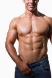 W połowie sekcja bez koszuli mięśniowy mężczyzna zdjęcie royalty free
