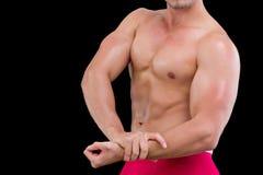 W połowie sekcja bez koszuli mięśniowy mężczyzna zdjęcia royalty free