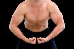 W połowie sekcja bez koszuli mięśniowy mężczyzna obrazy stock