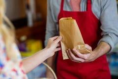 W połowie sekcja daje papierowej torbie kobieta męski personel Obrazy Stock
