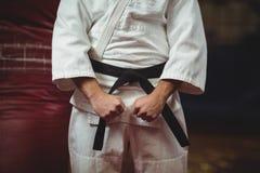 W połowie sekcja robi pięści karate gracz fotografia royalty free