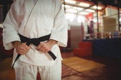 W połowie sekcja wiąże jego pasowego karate gracz zdjęcie stock