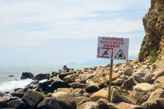 w polu przylądka karadag meganom stary seascape vulcan Szyldowy saying dopłynięcie jest zabraniający Rockfall Obraz Royalty Free