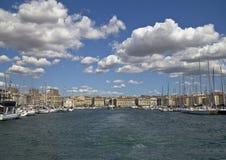 W porcie Marseille z widokiem na statkach Zdjęcia Royalty Free