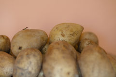 W potatoes. ARw potatoes on wooden table Stock Images