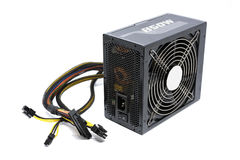 850W Power supply unit with cable and switch I O, black color for full ATX Tower case PC have big fan for cool ioslated Royalty Free Stock Photos