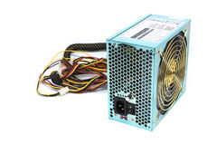 500W Power supply unit with cable and switch I O, green color for full ATX Tower case PC have big fan for cool ioslated on white. Background royalty free stock images