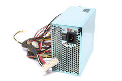 500W Power supply unit with cable and switch I O, green color fo Royalty Free Stock Image