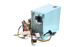 500W Power supply unit with cable and switch I O, green color fo Stock Photos