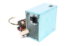 500W Power supply unit with cable and switch I O, green color fo Stock Images
