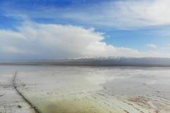 W powietrzu widok Chaka Salt Lake Chaka jest Tybeta?skim j?zykiem znaczenie jest solankowym stawem kt?ry jest sol? Qinghai, Ja je fotografia stock